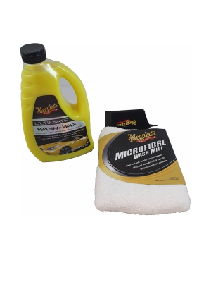 Meguiars Ultimate Wash & Wax 1.42L / Meguiars Super thick microfiber Wash Mitt Set